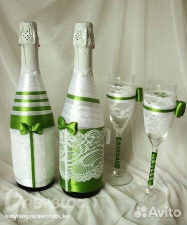 Оформление бутылок из лент на свадьбу своими руками