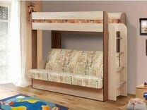 Кровать двухъярусная диван бортик лестница ящики
