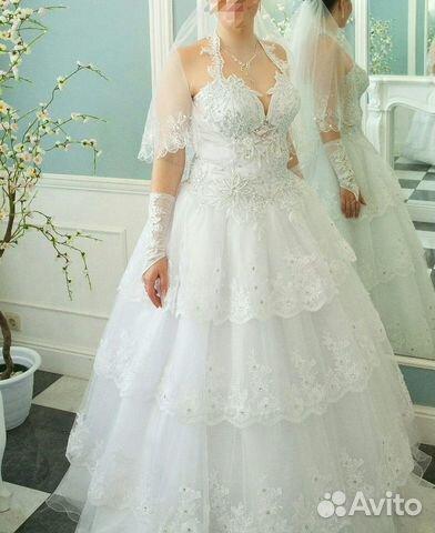 ec09feaba Свадебное платье, фата, перчатки купить в Рязанской области на Avito ...