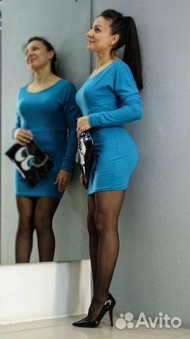 Платье-туника красивого синего цвета купить 2