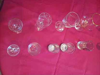 Рюмки, фужеры, стаканчики из стекла и хрусталя